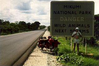 Warning sign before crossing Mikumi National Park in Tanzania
